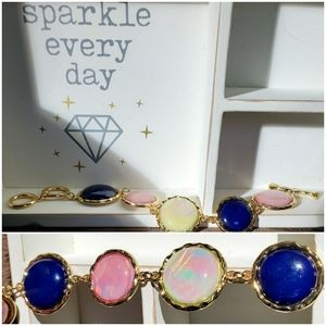 Multi colored Opalescent Gold tone bracelet